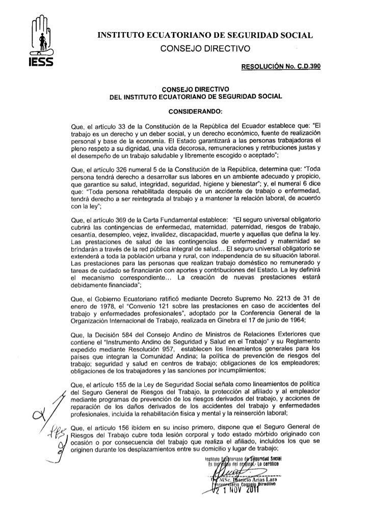 Resolucion cd. 390 Reglamento del Seguro General de Riesgos del Trabajo