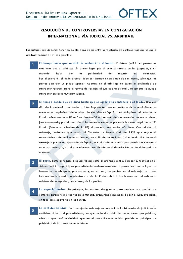Resolución de controversias en contratación internacional