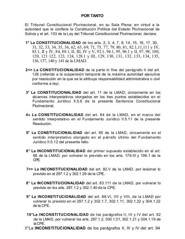 Resolucion del tcp sobre la ley marco de autonomias