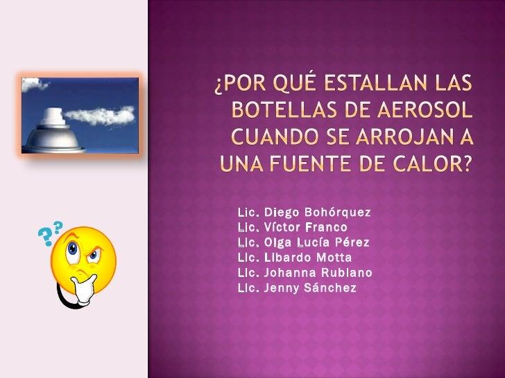 Lic. Diego Bohórquez Lic. Víctor Franco Lic. Olga Lucía Pérez Lic. Libardo Motta Lic. Johanna Rubiano Lic. Jenny Sánchez