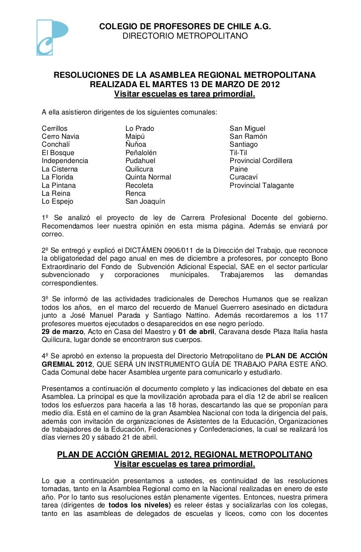 Resoluciones asamblea metropolitana 13 marzo 2012