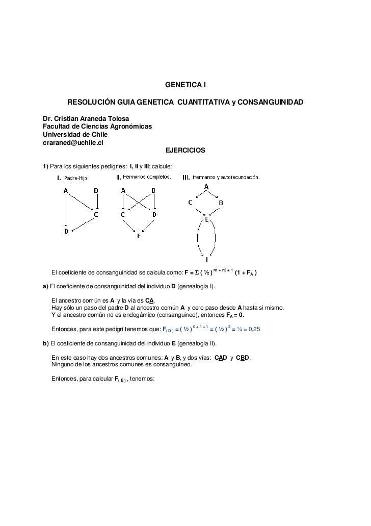 GENETICA I          RESOLUCIÓN GUIA GENETICA CUANTITATIVA y CONSANGUINIDADDr. Cristian Araneda TolosaFacultad de Ciencias ...