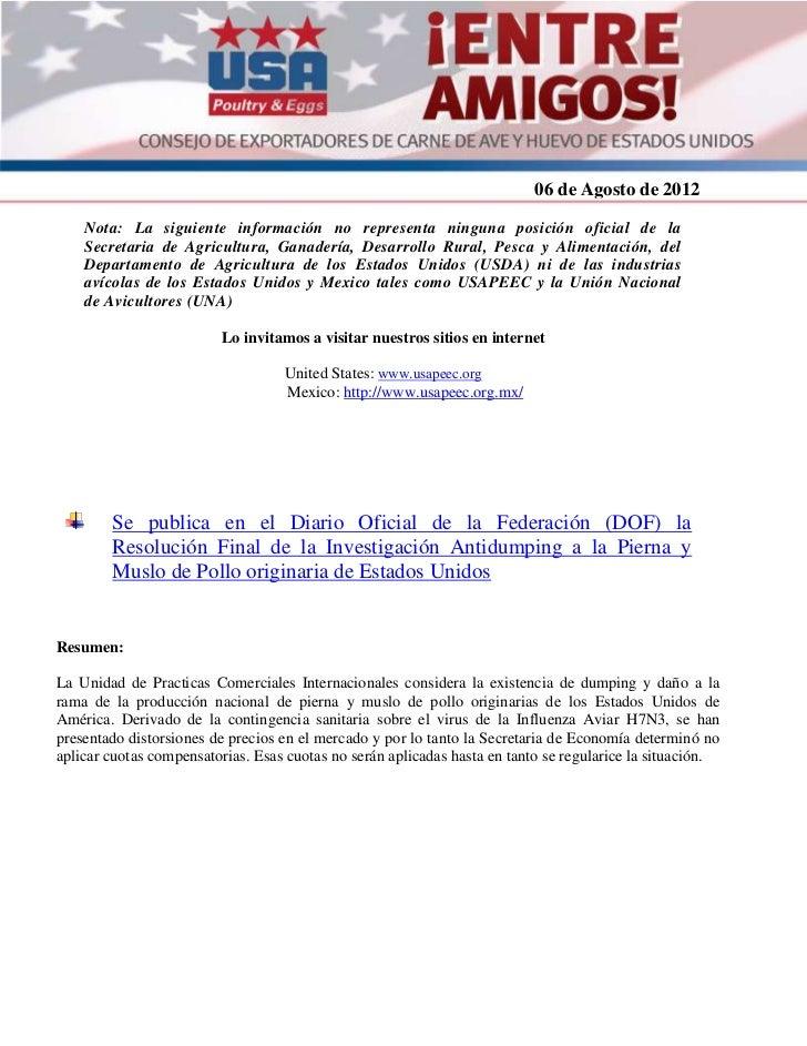 Resolución de Investigación Antidumping a la Pierna y Muslo de Pollo originaria de Estados Unidos