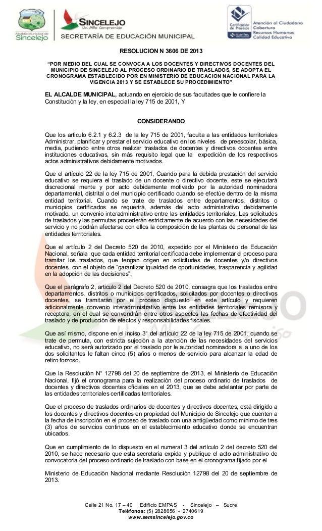 Resolucion 3606 de 2013