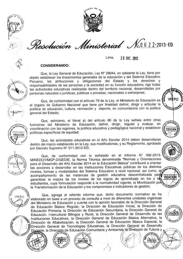 Resolucion ministerial n° 0622 2013-ed- DIRECTIVA DESARROLLO AÑO ESCOLAR 2014