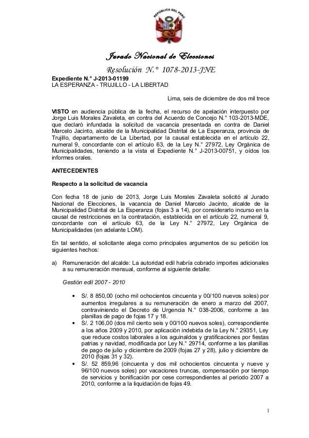Jurado Nacional de Elecciones Resolución N.° 1078-2013-JNE Expediente N.° J-2013-01199 LA ESPERANZA - TRUJILLO - LA LIBERT...