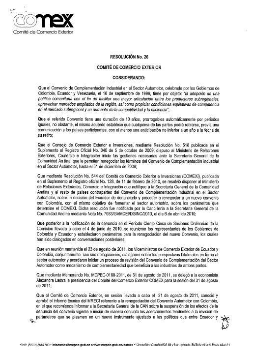 Resolución N°26 COMEX: Convenio automotor con Colombia