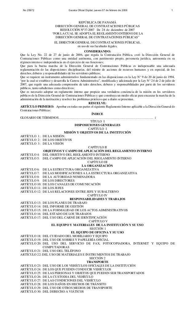 """REPÚBLICA DE PANAMÁ DIRECCIÓN GENERAL DE CONTRATACIONES PÚBLICAS RESOLUCIÓN Nº37-2007 De 28 de diciembre de 2007 """"POR LA C..."""