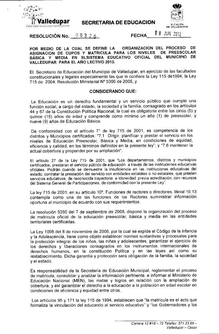 Resolucion proceso de_matricula_2013