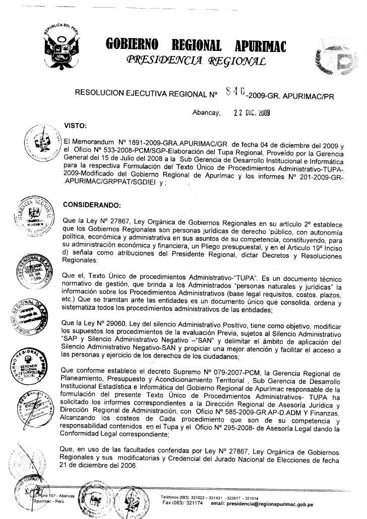 Resolucion Tupa 2009