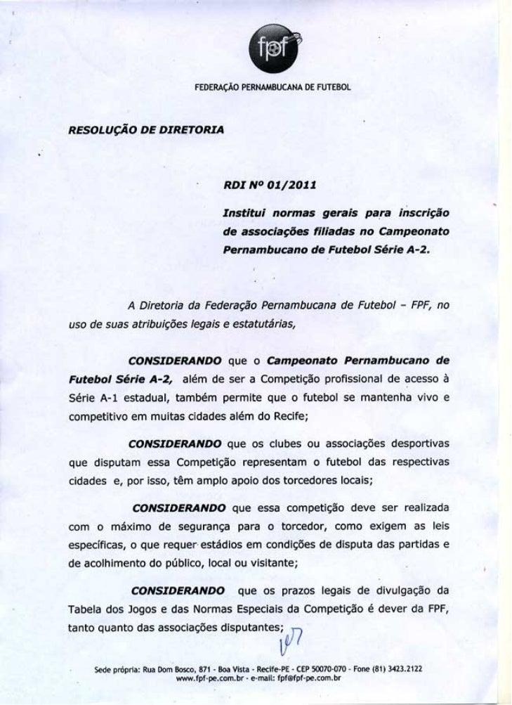 Resolução da FPF sobre inscrição de clubes