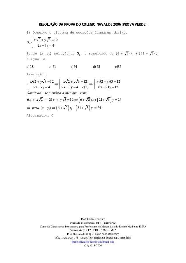 Prof. Carlos LoureiroFormado Matemática -UFF – Niterói/RJCurso de Capacitação Permanente para Professores de Matemática do...