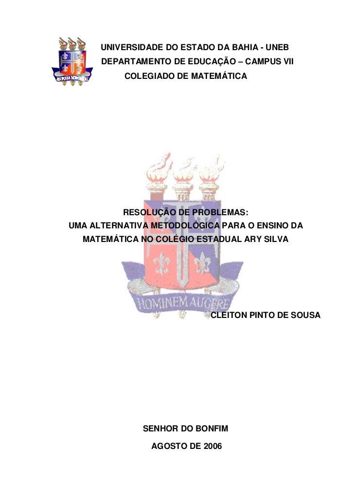 UNIVERSIDADE DO ESTADO DA BAHIA - UNEB      DEPARTAMENTO DE EDUCAÇÃO – CAMPUS VII          COLEGIADO DE MATEMÁTICA        ...