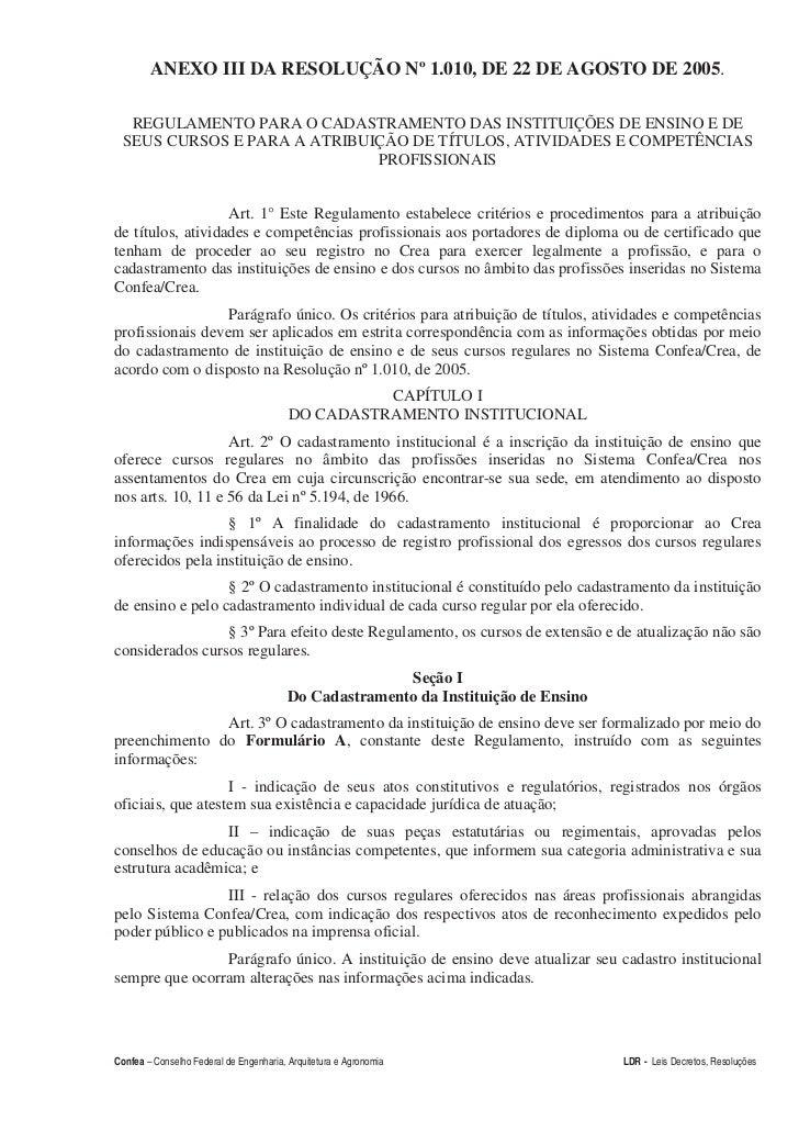 ANEXO III DA RESOLUÇÃO Nº 1.010, DE 22 DE AGOSTO DE 2005.   REGULAMENTO PARA O CADASTRAMENTO DAS INSTITUIÇÕES DE ENSINO E ...