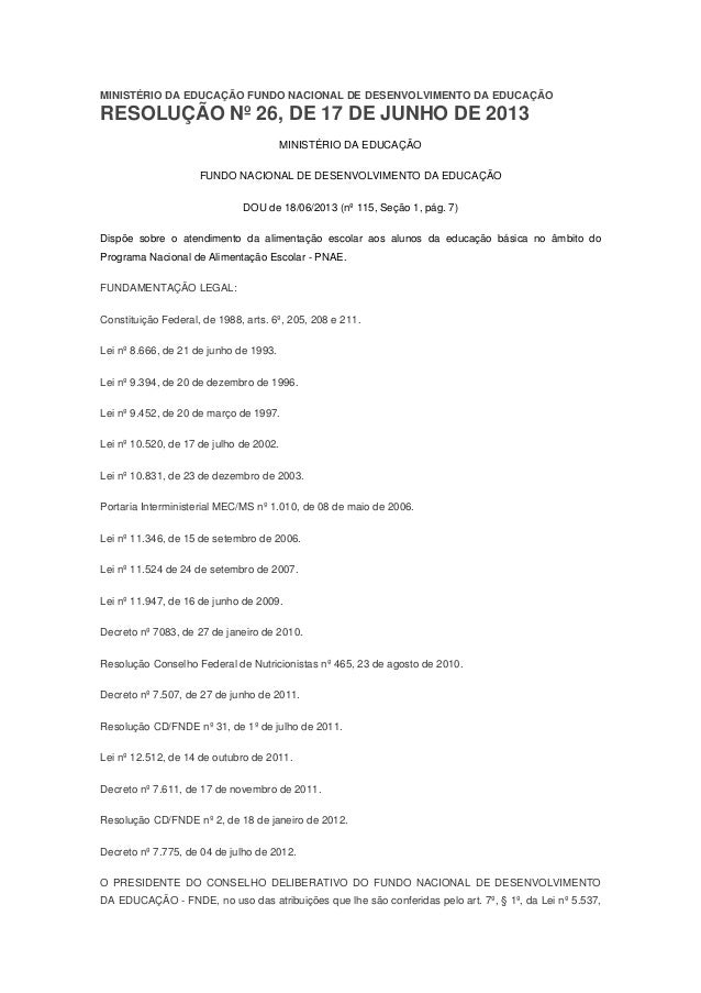 Resolução n 26, de 17 06-2013 pnae