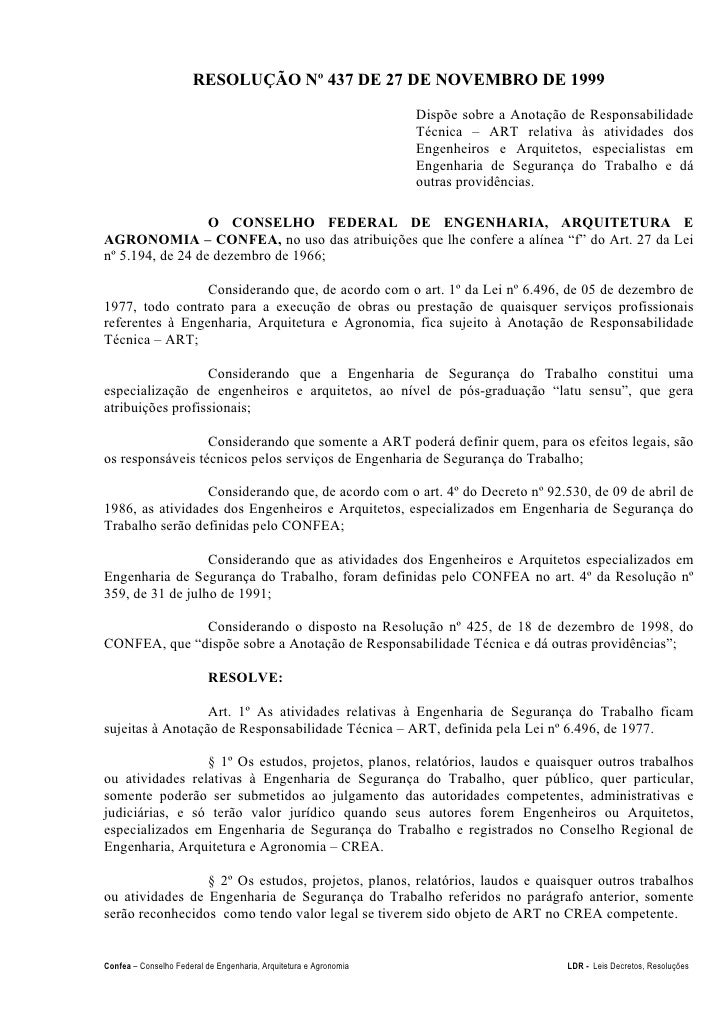 RESOLUÇÃO Nº 437 DE 27 DE NOVEMBRO DE 1999                                                                   Dispõe sobre ...