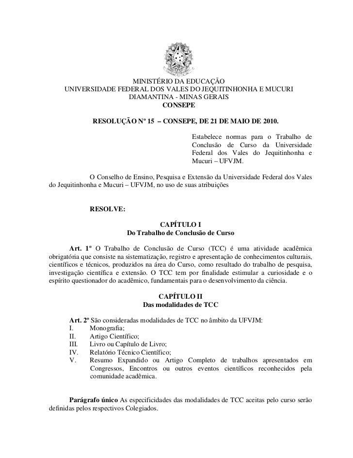 MINISTÉRIO DA EDUCAÇÃO     UNIVERSIDADE FEDERAL DOS VALES DO JEQUITINHONHA E MUCURI                     DIAMANTINA - MINAS...
