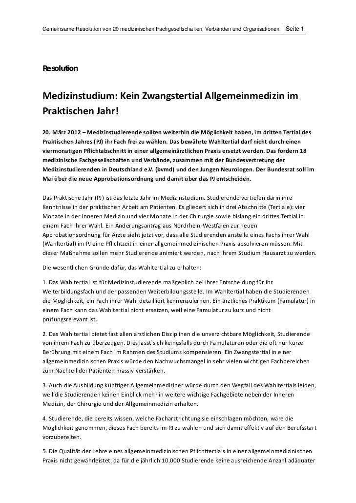 Gemeinsame Resolution von 20 medizinischen Fachgesellschaften, Verbänden und Organisationen | Seite 1ResolutionMedizinstu...