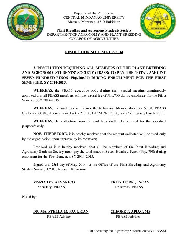 Republic of the Philippines CENTRAL MINDANAO UNIVERSITY Musuan, Maramag, 8710 Bukidnon Plant Breeding and Agronomy Student...