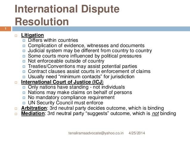 Resolution of intl commr disputes