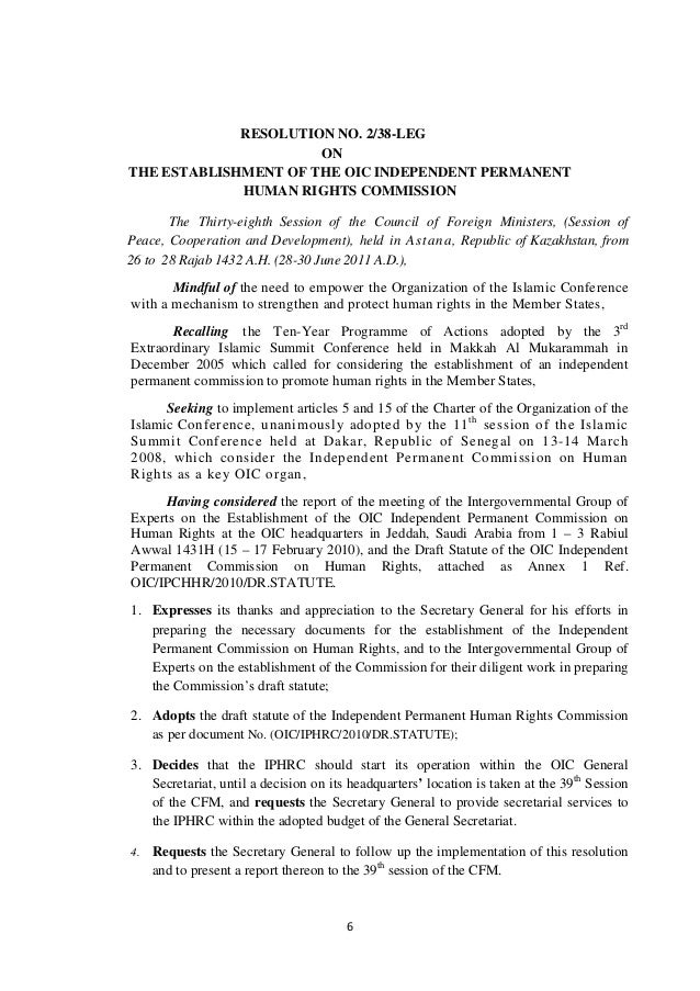 Resolution of OIC-IPHRC and Statute of IPHRC