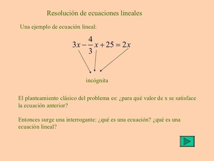 Resolver ecuación lineal