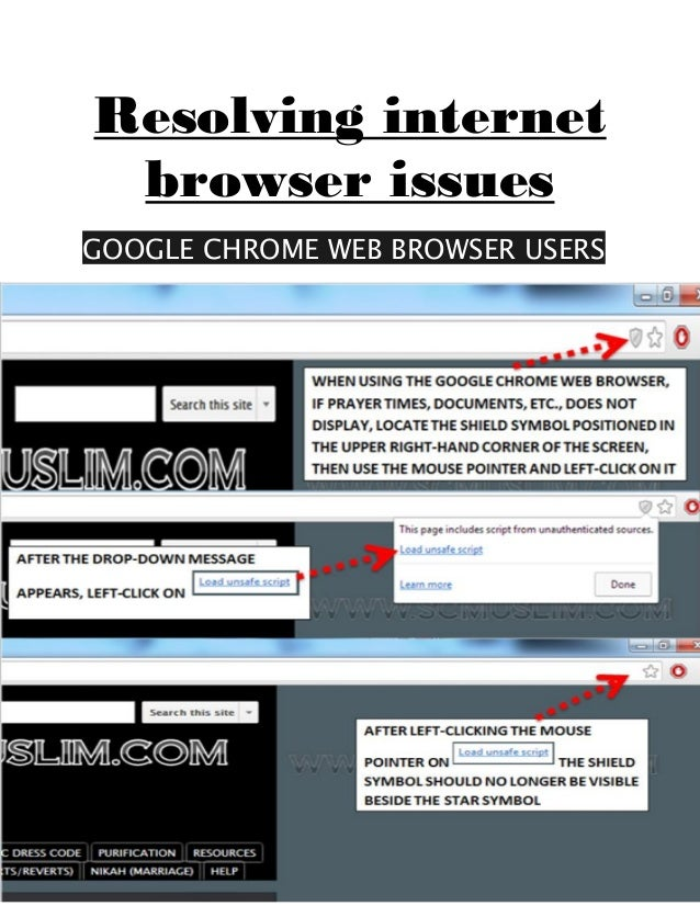 Resolving internet browser issues GOOGLE CHROME WEB BROWSER USERS
