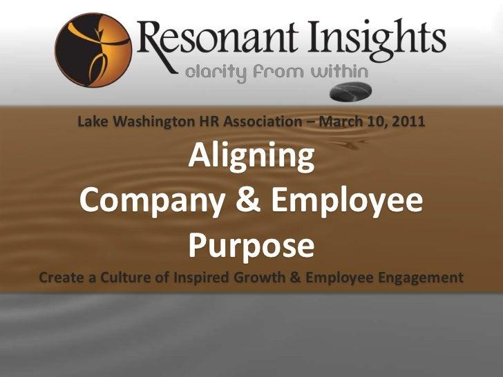 Lake Washington HR Association – March 10, 2011          Aligning     Company & Employee          PurposeCreate a Culture ...