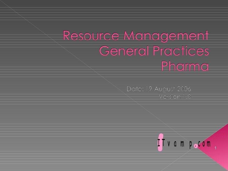 Resource Management General Practice Itvamp 2006