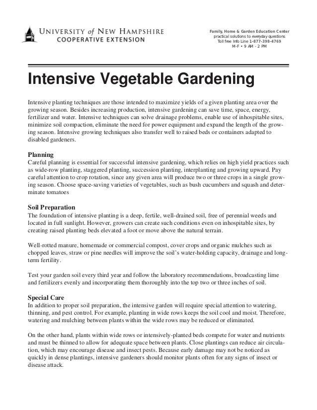 Intensive Vegetable Gardening - New Hampshire University