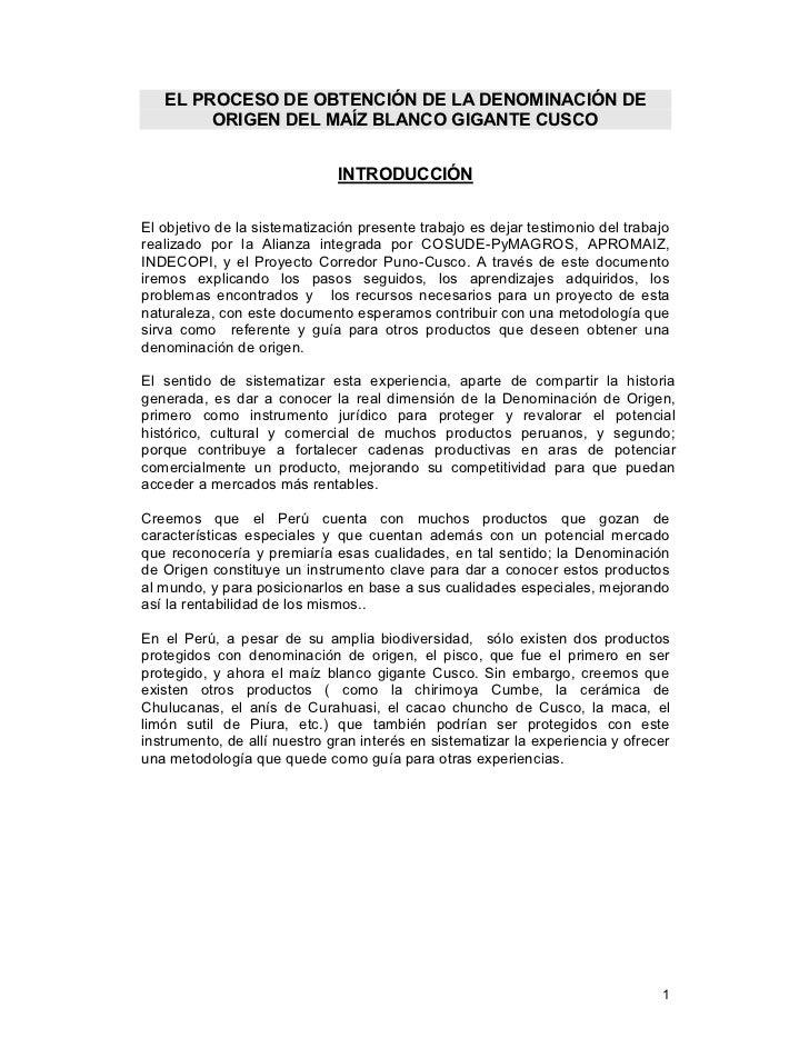 EL PROCESO DE OBTENCIÓN DE LA DENOMINACIÓN DE        ORIGEN DEL MAÍZ BLANCO GIGANTE CUSCO                              INT...