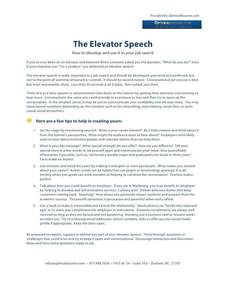 How to write an elevator speech for job interview