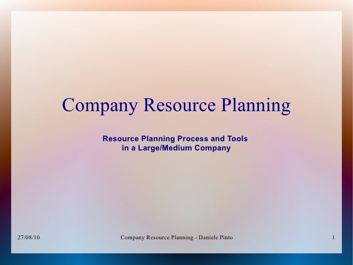 Company Resource Planning                Resource Planning Process and Tools                    in a Large/Medium Company ...