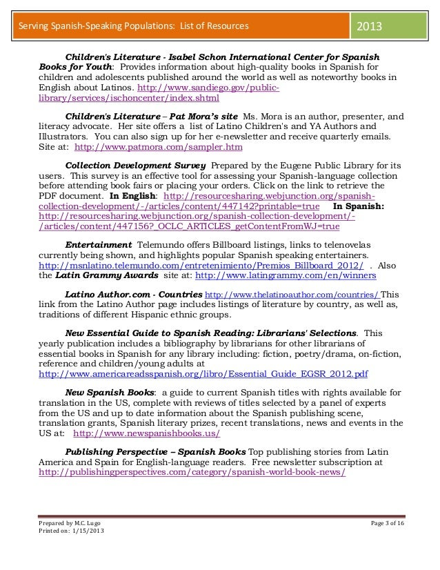 Annotated list of resources