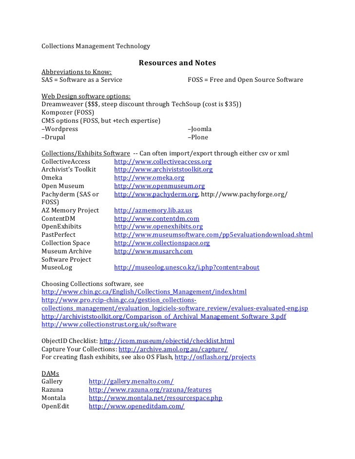 Collections  Management  Technology                                                     Resources  and  Notes...