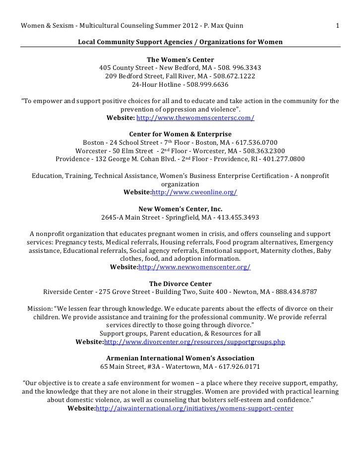 Women & Sexism - Multicultural Counseling Summer 2012 - P. Max Quinn                                       1              ...