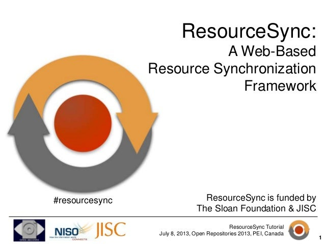 ResourceSync Tutorial July 8, 2013, Open Repositories 2013, PEI, Canada ResourceSync: A Web-Based Resource Synchronization...