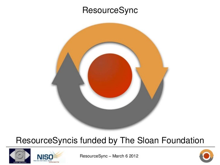 ResourceSyncResourceSyncis funded by The Sloan Foundation               ResourceSync – March 6 2012