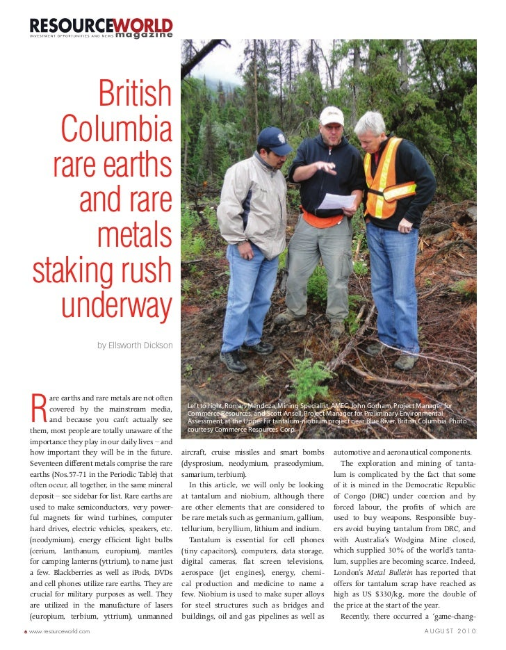 Resource World Magazine Feature:  Rocky Mountain Rare Metal Belt