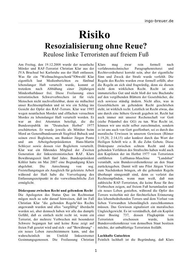 ingo-breuer.de                                               Risiko                   Resozialisierung ohne Reue?         ...