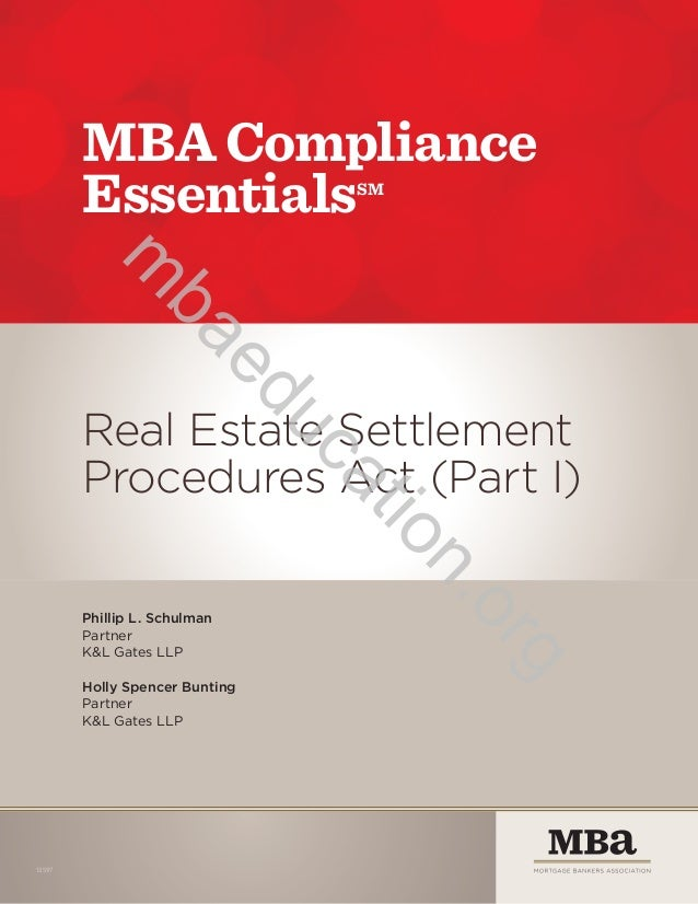 MBA Compliance Essentials: RESPA I Resource Guide
