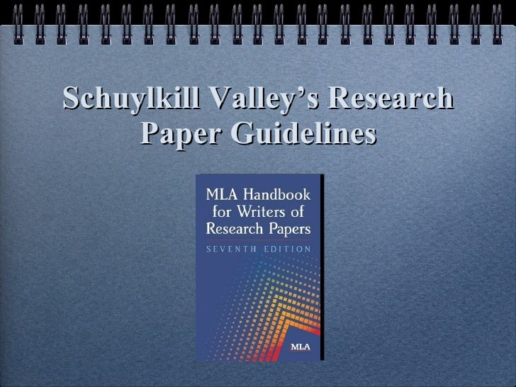 Schuylkill Valley's Research Paper Guidelines