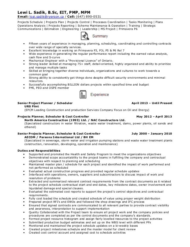 Sample resume planner scheduler