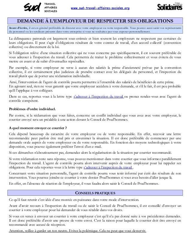 TRAVAIL AFFAIRES SOCIALES www.sud-travail-affaires-sociales.org DEMANDE À L'EMPLOYEUR DE RESPECTER SES OBLIGATIONS Avant d...