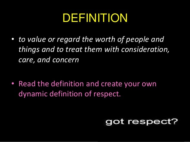 Self Respect Definition Essay
