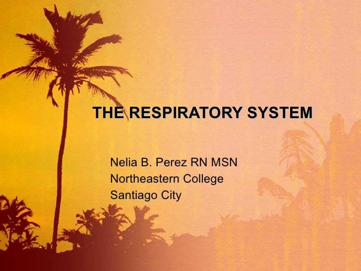 THE RESPIRATORY SYSTEM Nelia B. Perez RN MSN Northeastern College Santiago City