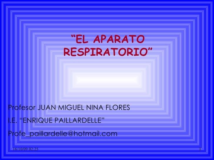 """ EL APARATO RESPIRATORIO"" Profesor JUAN MIGUEL NINA FLORES  I.E. ""ENRIQUE PAILLARDELLE"" [email_address]"