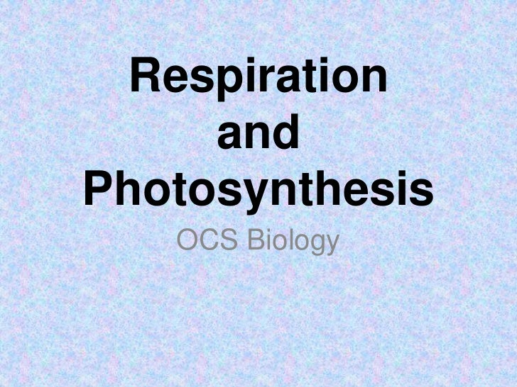 Respiration (with review of photosynthesis)