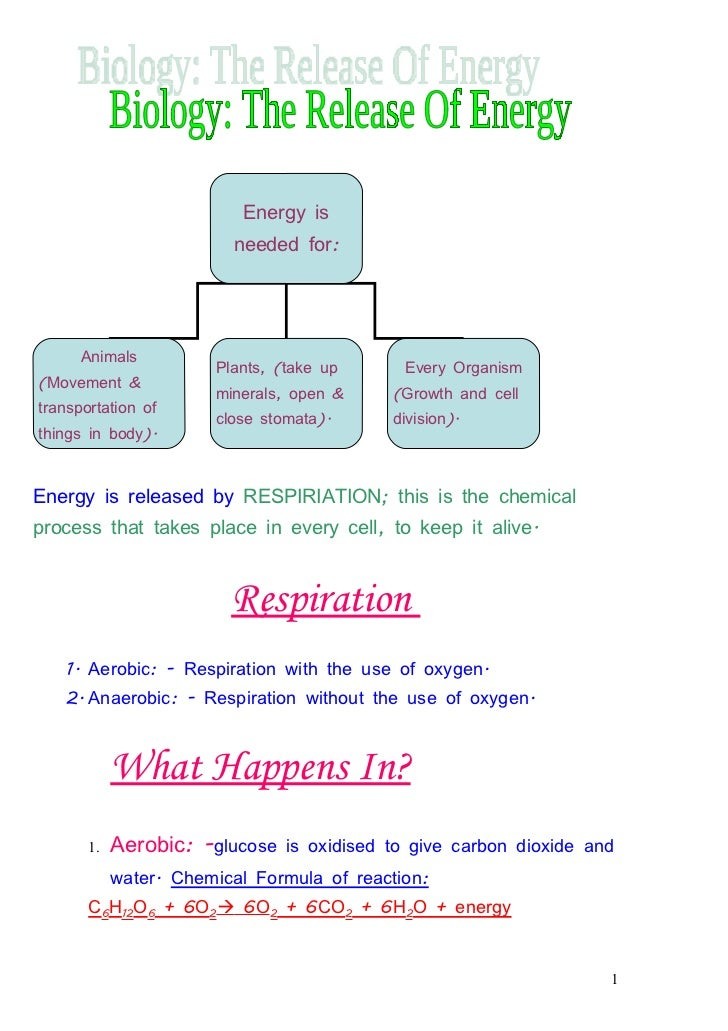 Energy is                         needed for:      Animals                       Plants, (take up      Every Organism(Move...