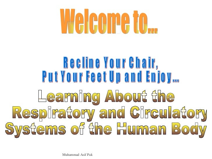 Welcome to... Recline Your Chair,  Put Your Feet Up and Enjoy... Learning About the Respiratory and Circulatory Systems of...